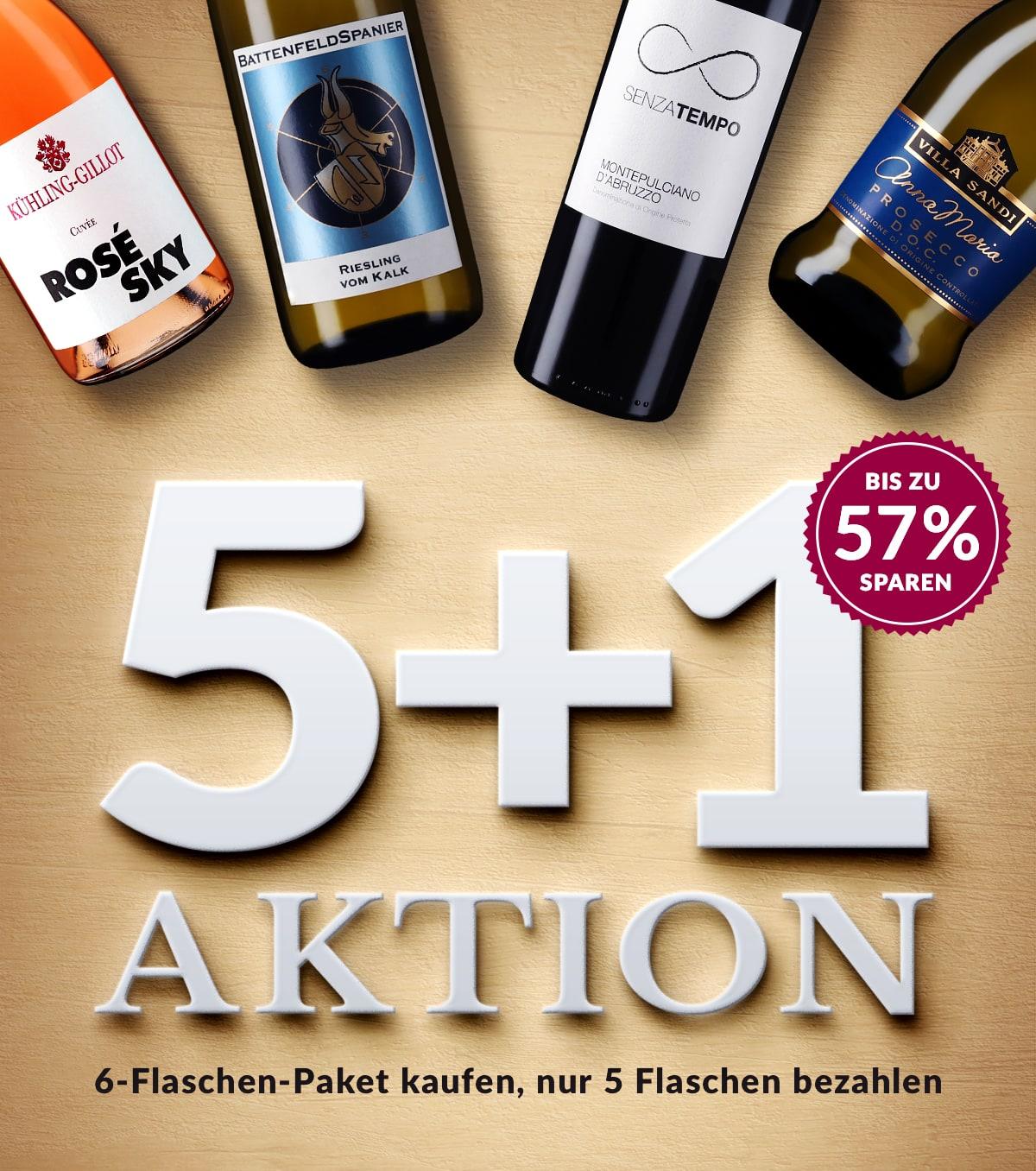 Große 5 + 1 Aktion bei [Vicampo] mit 65 unterschiedlichen Weinen - z.B. 6 Flaschen VDP.Gutsriesling Gutzler