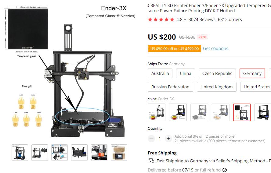 Ender 3X 3D-Drucker inkl. Glasbett und Ersatz Nozzle's (aus DE)