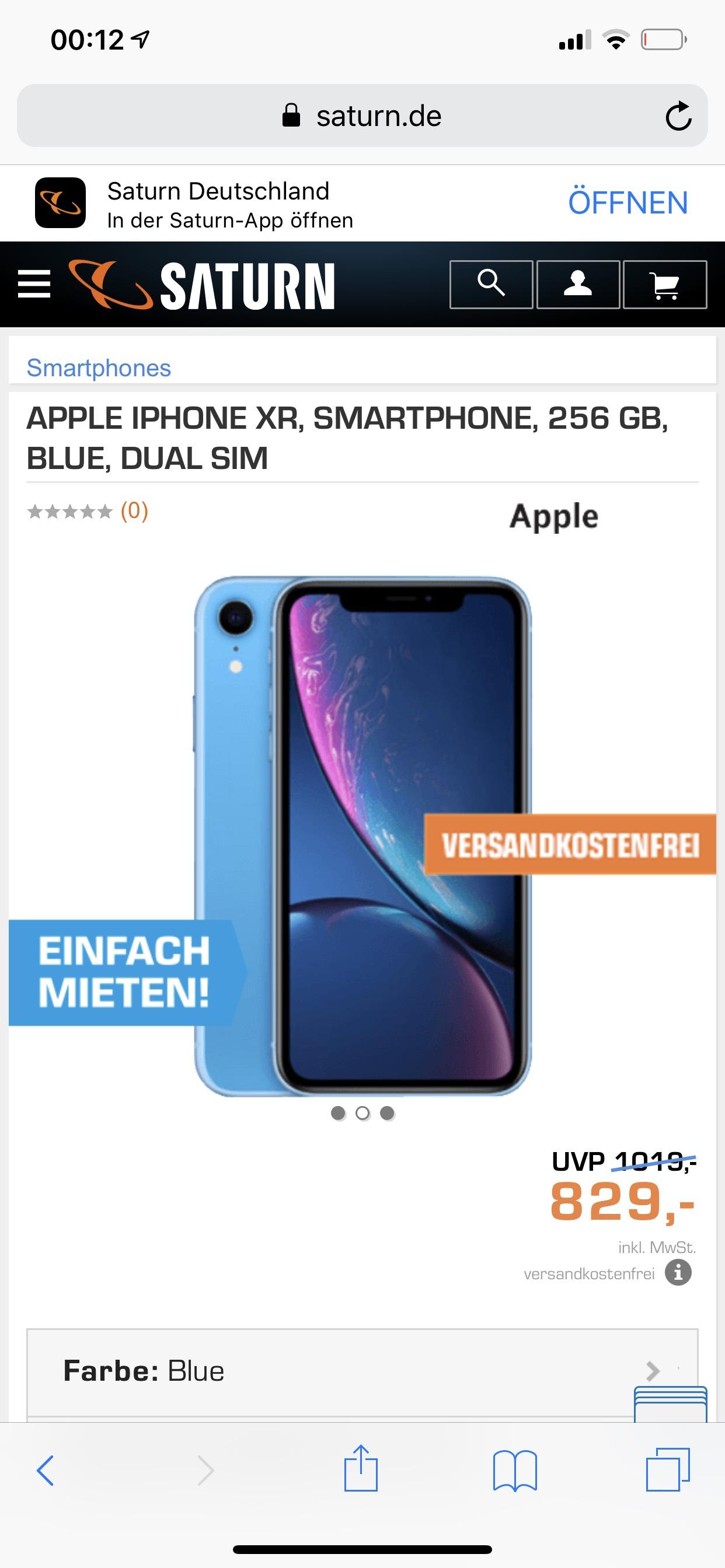 Apple IPhone XR 256 GB Versandkostenfrei Auf Saturn.de für 829€