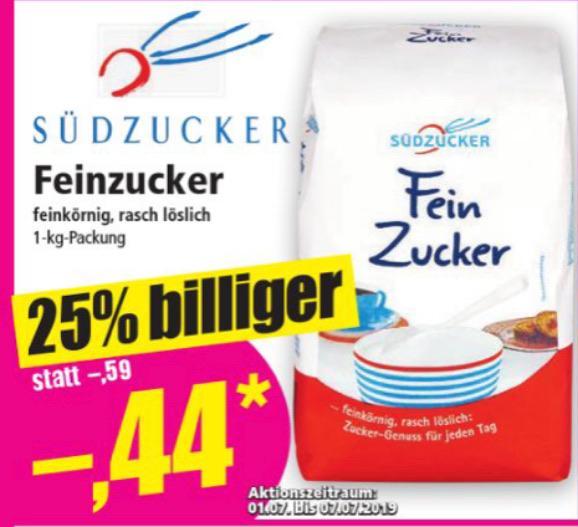 Norma Fein-Zucker feinkörnig 1kg 0,44€ ab 01.07.
