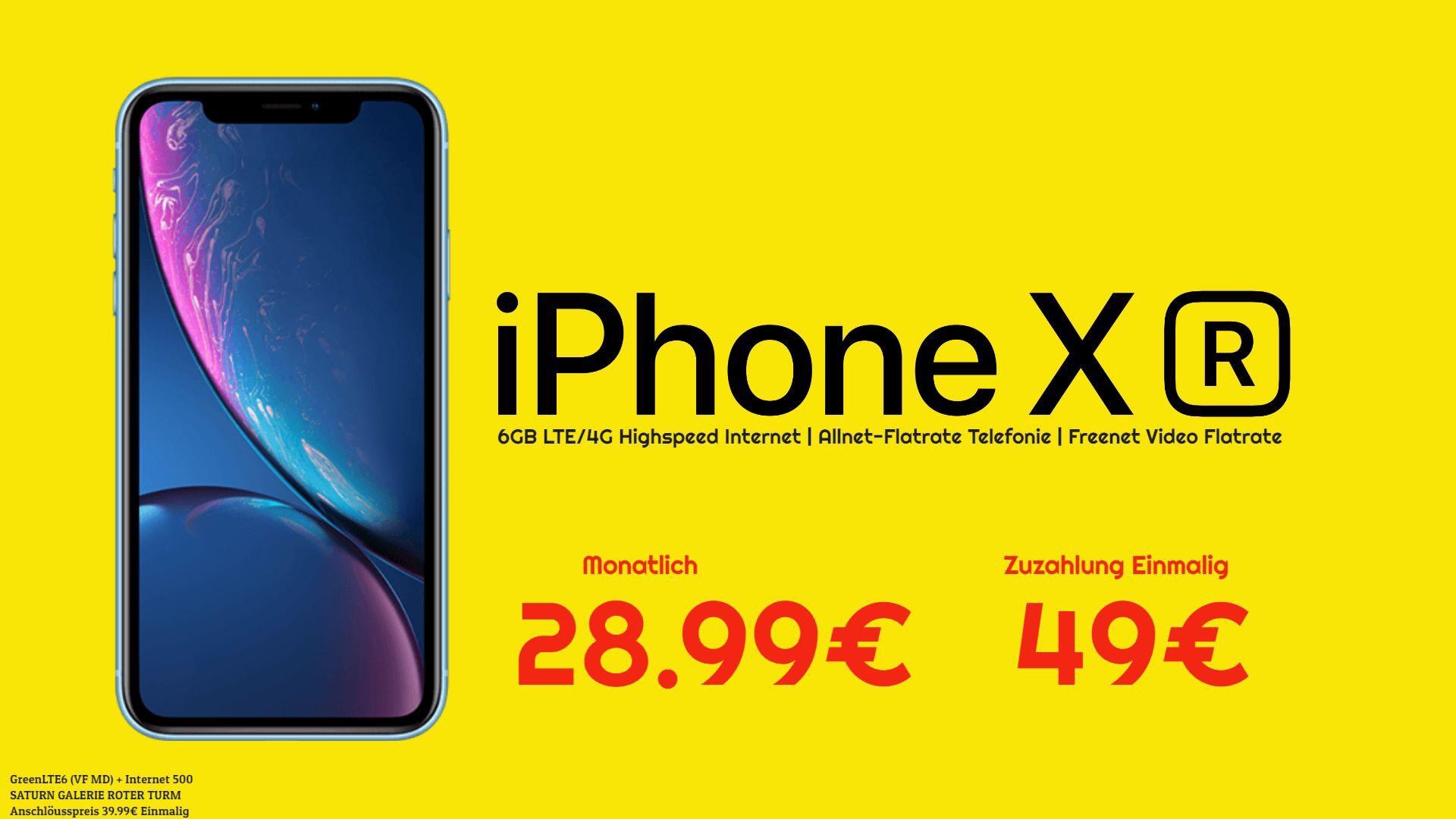 Apple iPhone XR 64GB + 6GB LTE Allnet VF (Lokal)