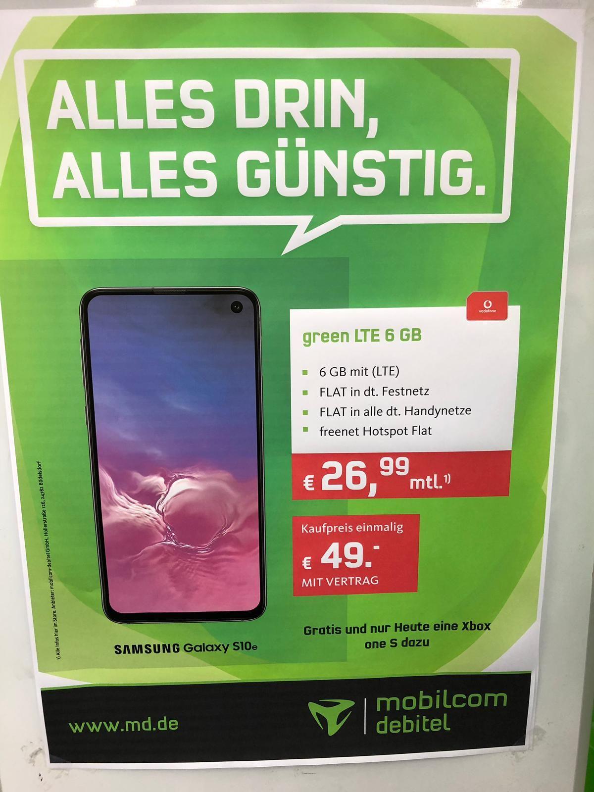 (Lokal) Saturn Hennef Samsung S10e  & Xbox One S mit 6GB LTE  (737,74 €) Mobilfunkvertrag