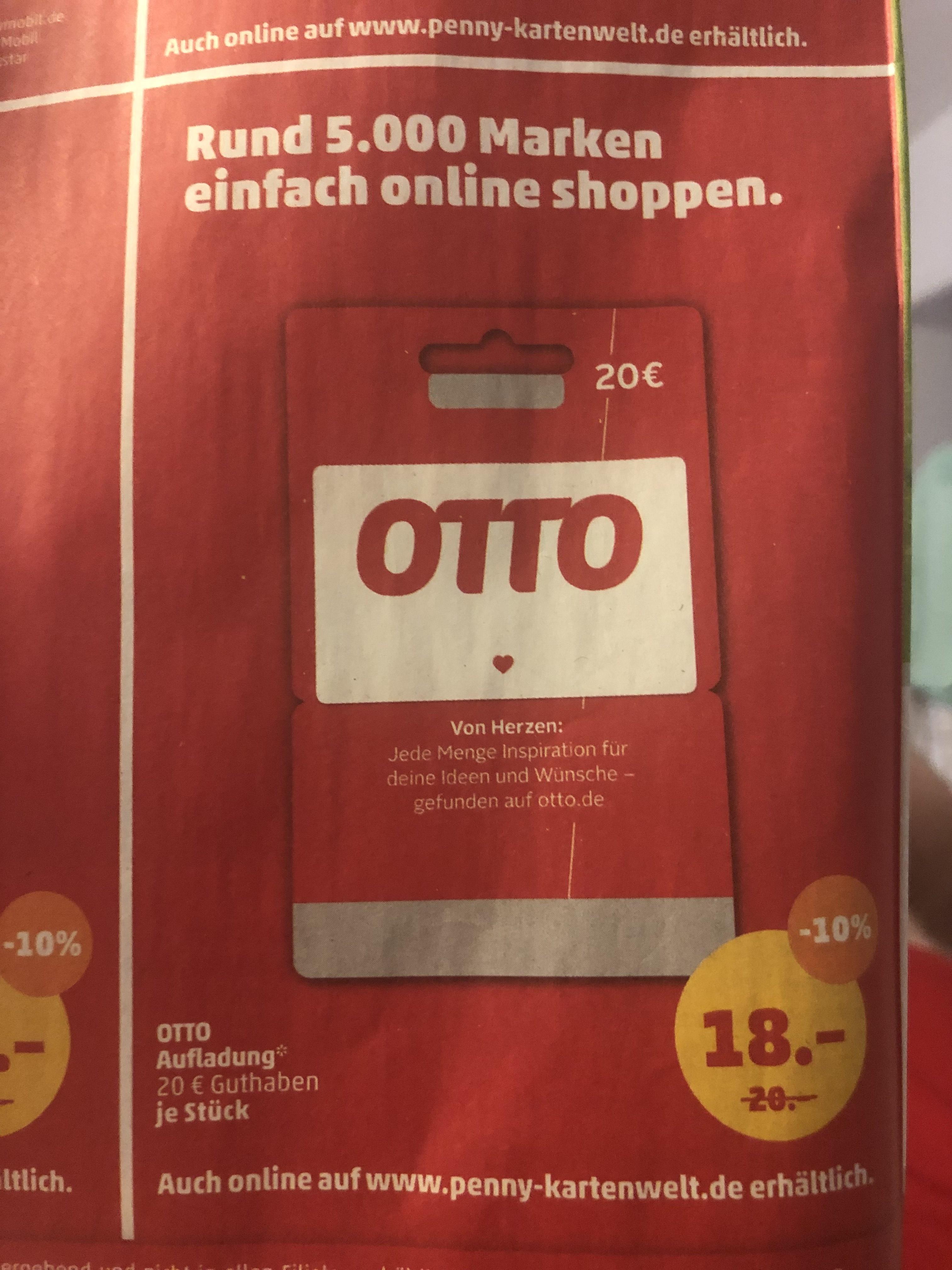20€ OTTO Guthabenkarte für 18€ bei Penny