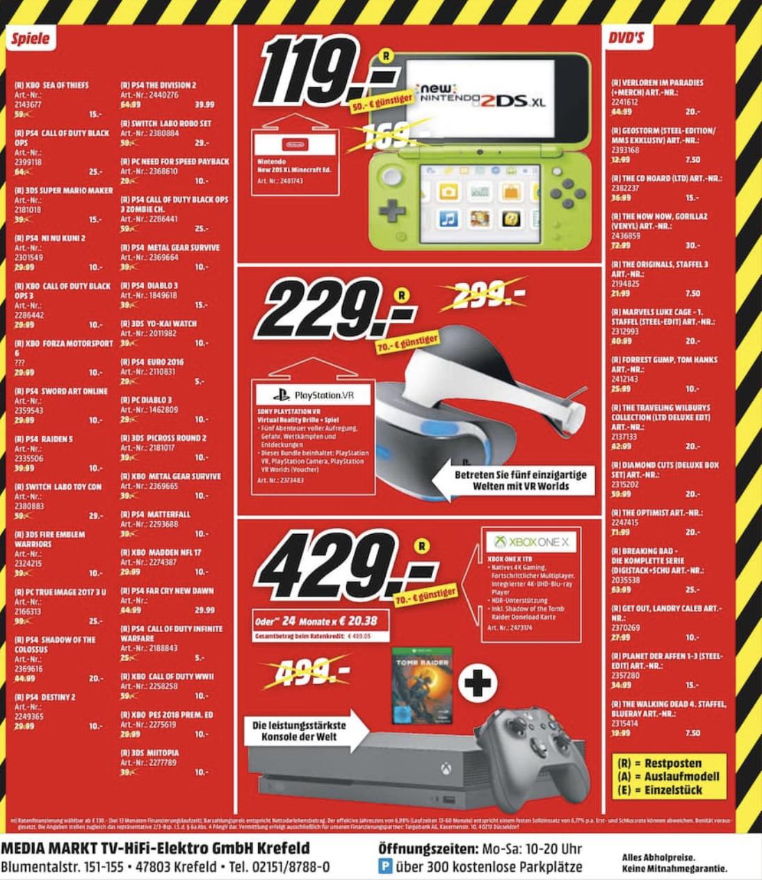 [Lokal: Media Markt Krefeld] PS4, XBO & 3DS-Games im Abverkauf: z.B Ni No Kuni 2 PS4 /  CoD World War II XBO @10€ / Miitopia 3DS @10€ / uvm.