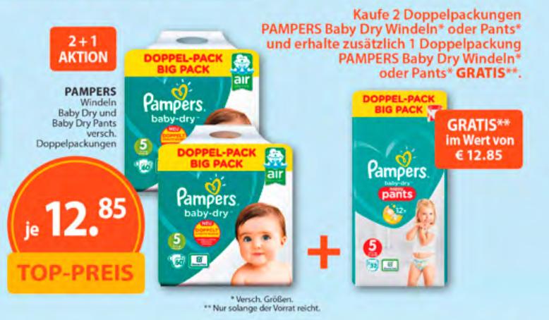 Pampers Baby-Dry Windeln oder Pants, 3 für 2 bei Müller