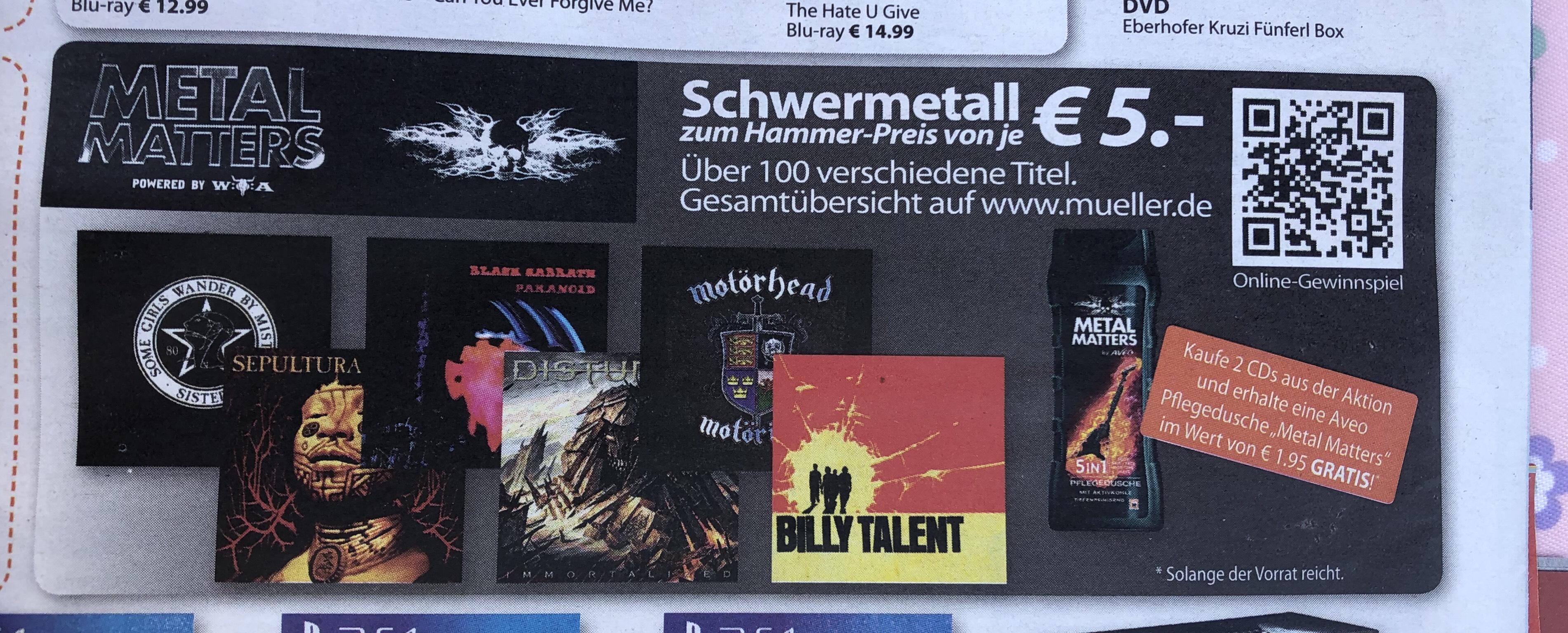 [Müller] Über 100 verschiedene Metal-CDs für je 5€ + Metal-Pflegedusche
