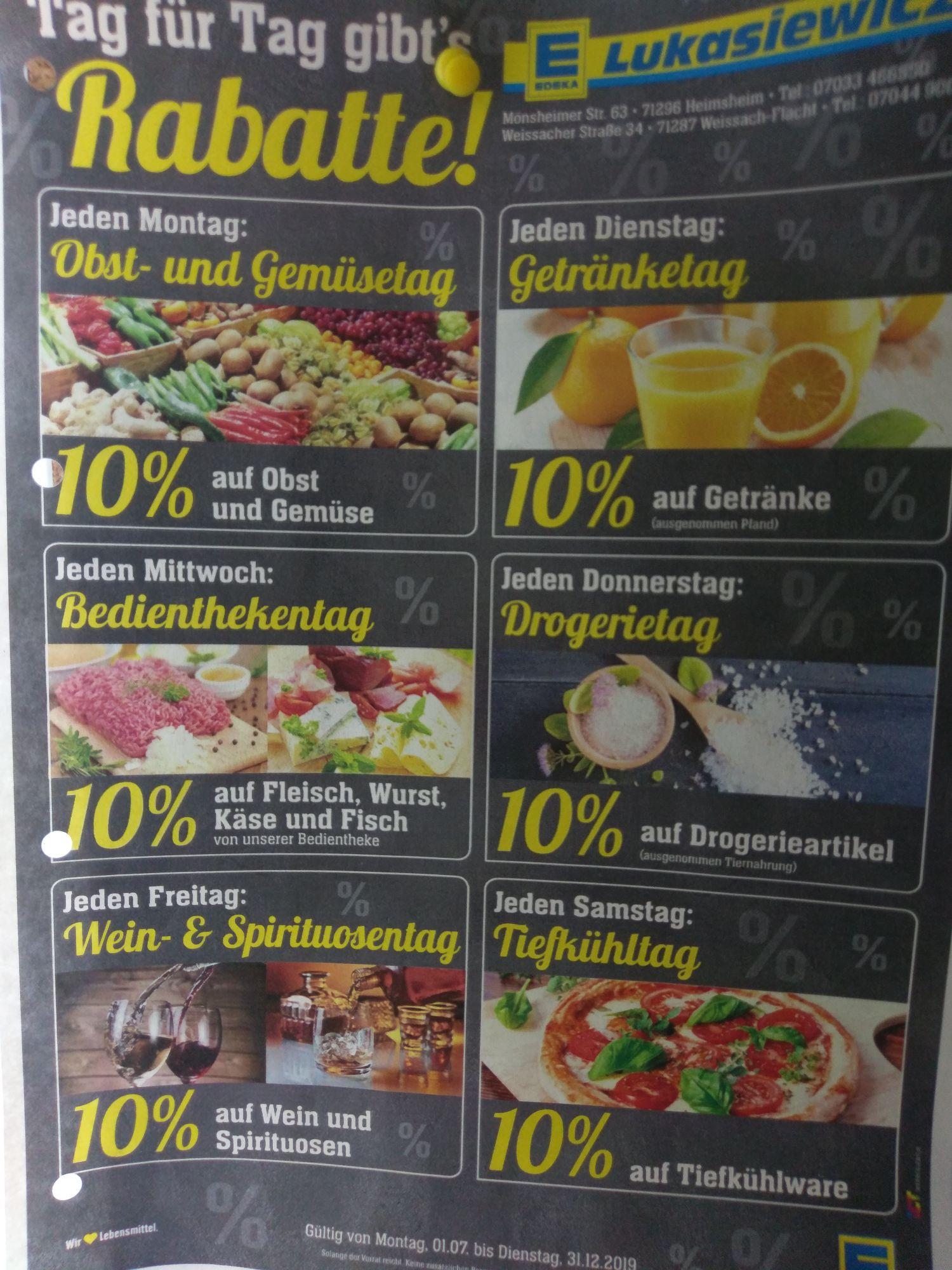 Edeka Weissach/ Flacht Jeden Tag 10% auf gesamte jeweilige Sortiment, Pampers, Coca Cola usw. Lokal