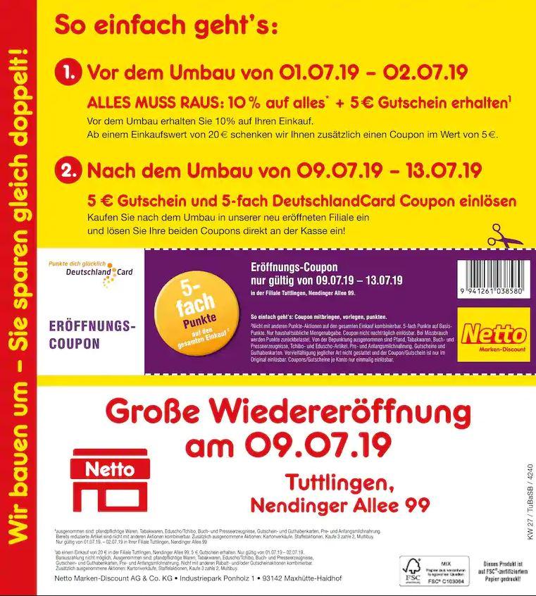 *LOKAL Tuttlingen* Netto MD (ohne Hund) baut um - 2 Aktionen: 10%+5€ und 5fach DC