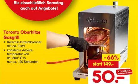 [Netto Marken-Discount Aichhalden + Hornbach] TEPRO Steakgrill Oberhitzegrill bis 800°C zum Bestpreis von 50€ auch bei Hornbach TPG möglich