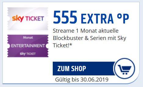 [Payback] 555 Punkte für [Sky Ticket] Abo - Entertainment/Cinema 4,99€, Sport 9,99€ im ersten Monat für Neukunden