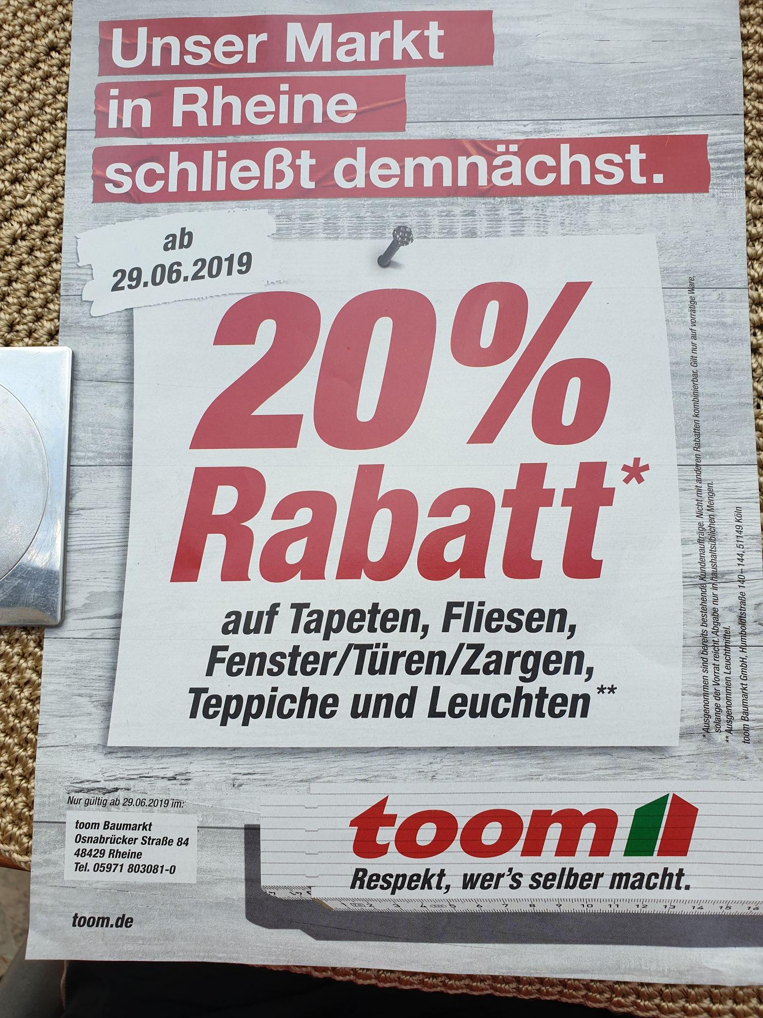 20% Rabatt auf Tapeten, Fliesen,  Fenster/Türen/Zargen  Teppiche und Leuchten; Toom Rheine schließt (lokal)