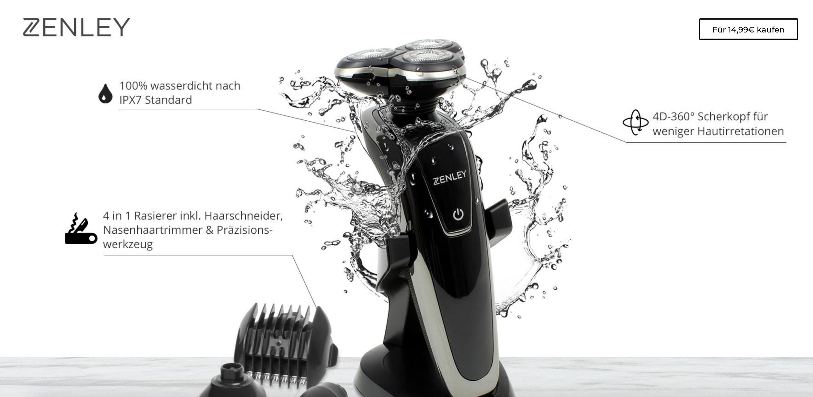 Zenley 4-in-1 Elektrischer Rasierer, wasserdicht / Sonderverkauf