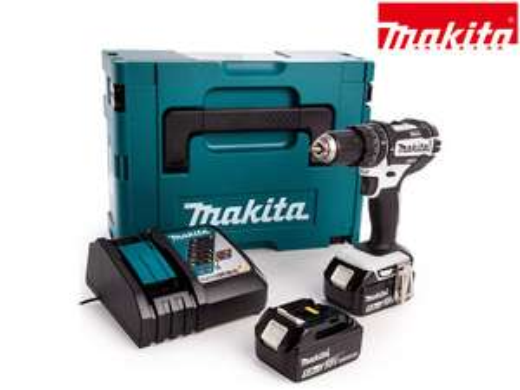 "Makita 18V-Schlagbohrschrauber ""DHP482RTWJ"" (2x 5Ah Akku, Schnellladegerät, Makpac, 36 Nm weich, 62 Nm hart, White Edition) [iBOOD]"