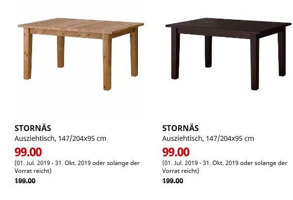 (IKEA Bielefeld) STORNÄS Ausziehtisch Antikbeize oder braunschwarz 147/204x95 cm