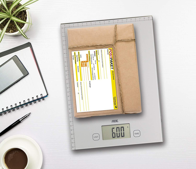 Digitale Paketwaage ADE KE 1700 Bridget (grammgenau bis 20kg, Zuwiegefunktion, zweiseitiges Zentimetermaß, Aufhängevorrichtung)