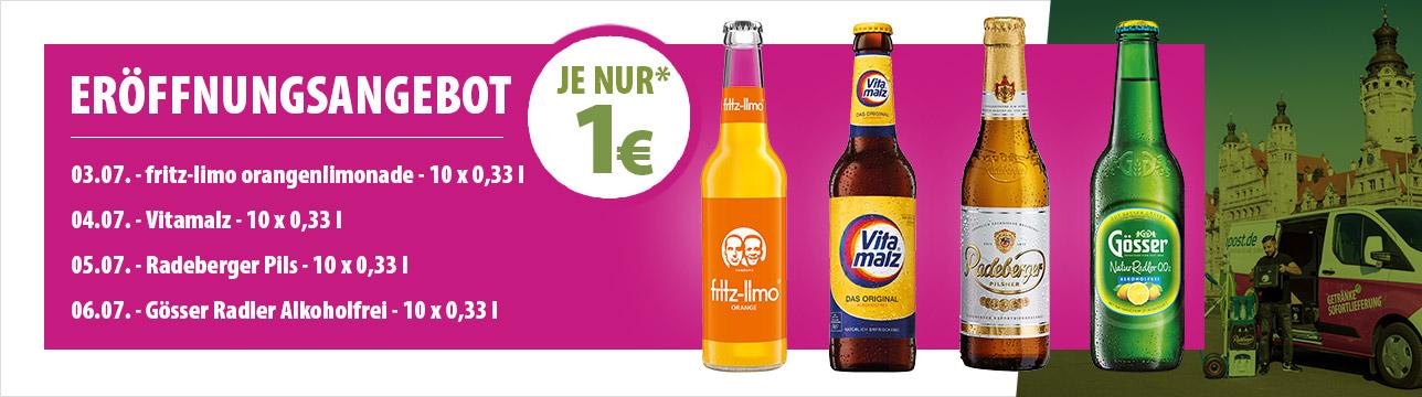 LOKAL Leipzig 1€ für 10x fritz Orange, 10x Vitamalz, 10x Radeberger oder 10x Gösser alkfrei als Tagesanbote bei flaschenpost.de