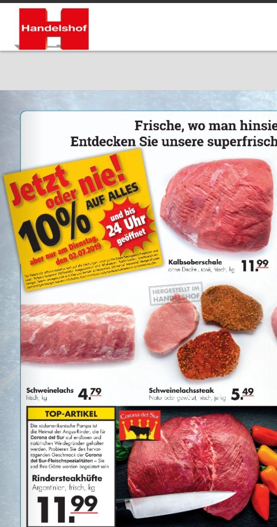 Handelshof 10% auf alle Artikel am 2. Juli, u.a. Black Angus Steakhüfte für 11,54€ brutto LOKAL