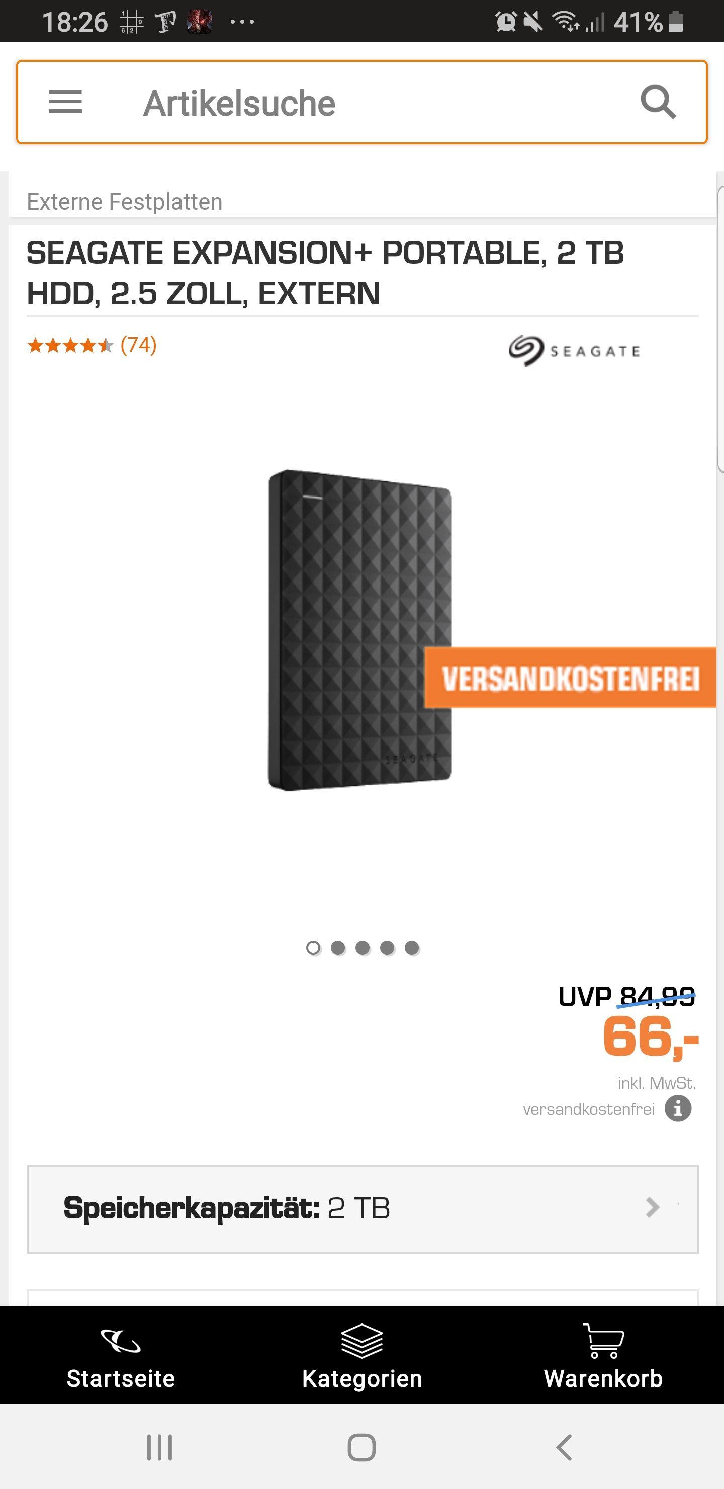 Seagate 2 TB externe Festplatte nur 66€ und Versandkostenfrei