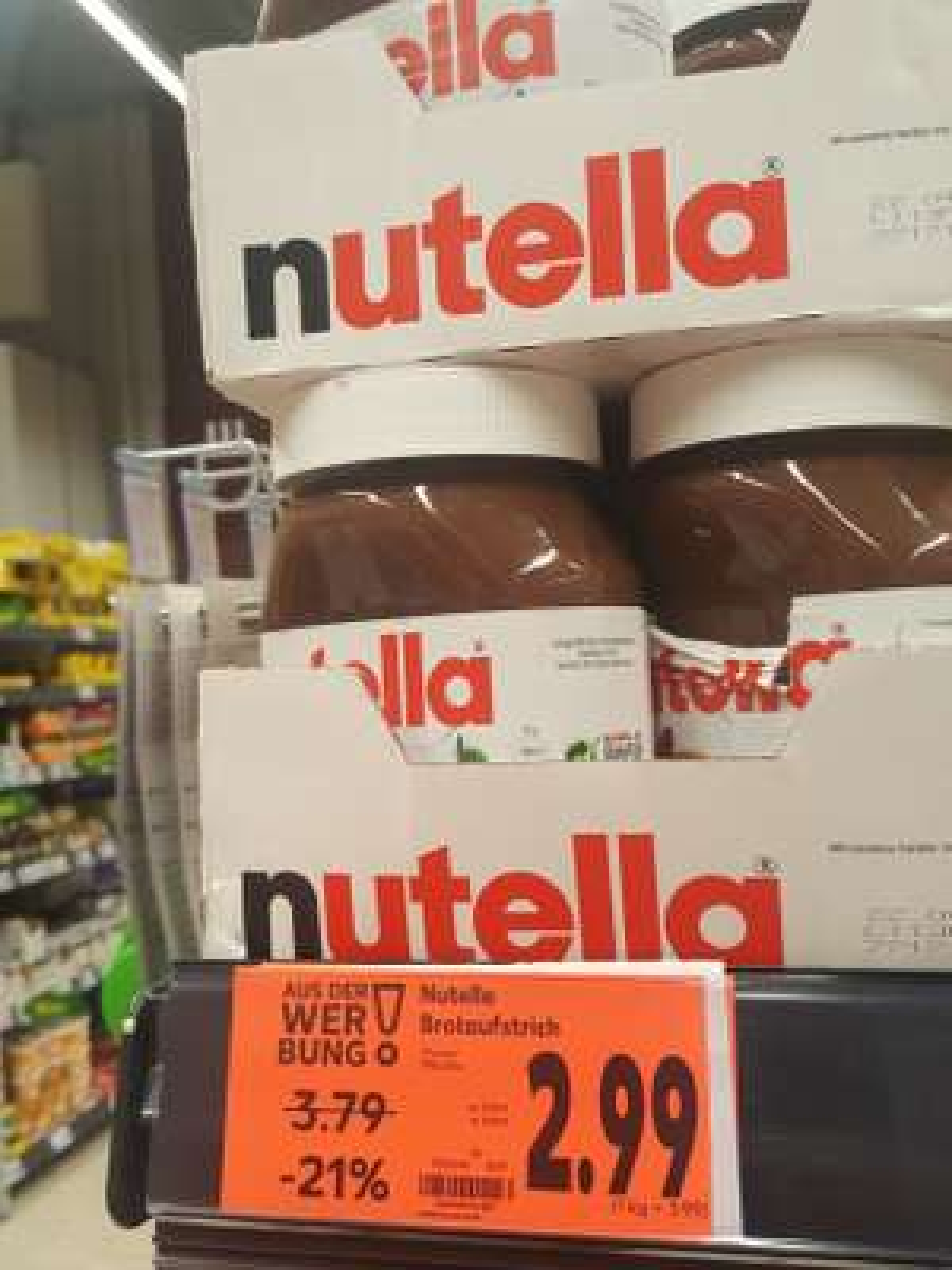 Nutella 750g 2.99€ 1000g 3.99€