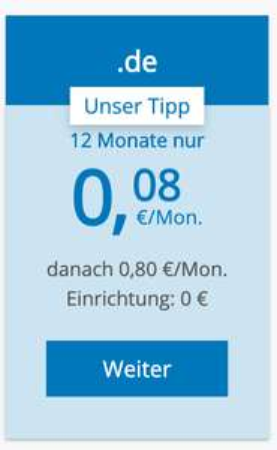 .de Domain bei Strato wieder ab 0,08€ pro Monat (0,96€/Jahr) inkl. 2GB Email-Account