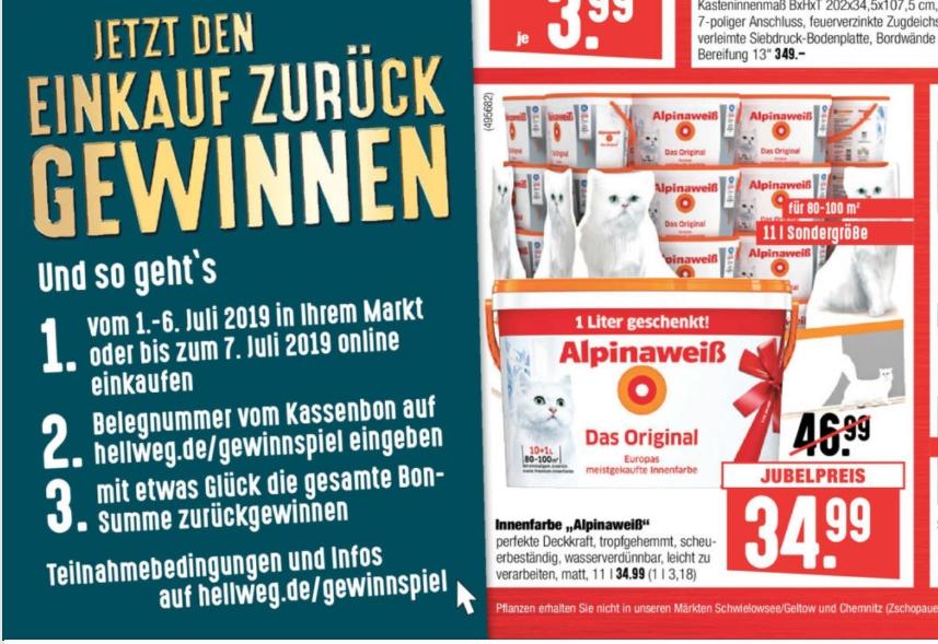 """Alpinaweiß - Das Original - """"mit Katze"""" - 11 Liter Sondergröße - 34,99€ - offline bei Hellweg"""