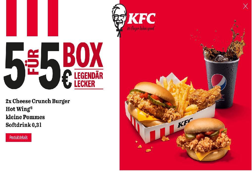 KFC: 5 Teile für 5 € Box