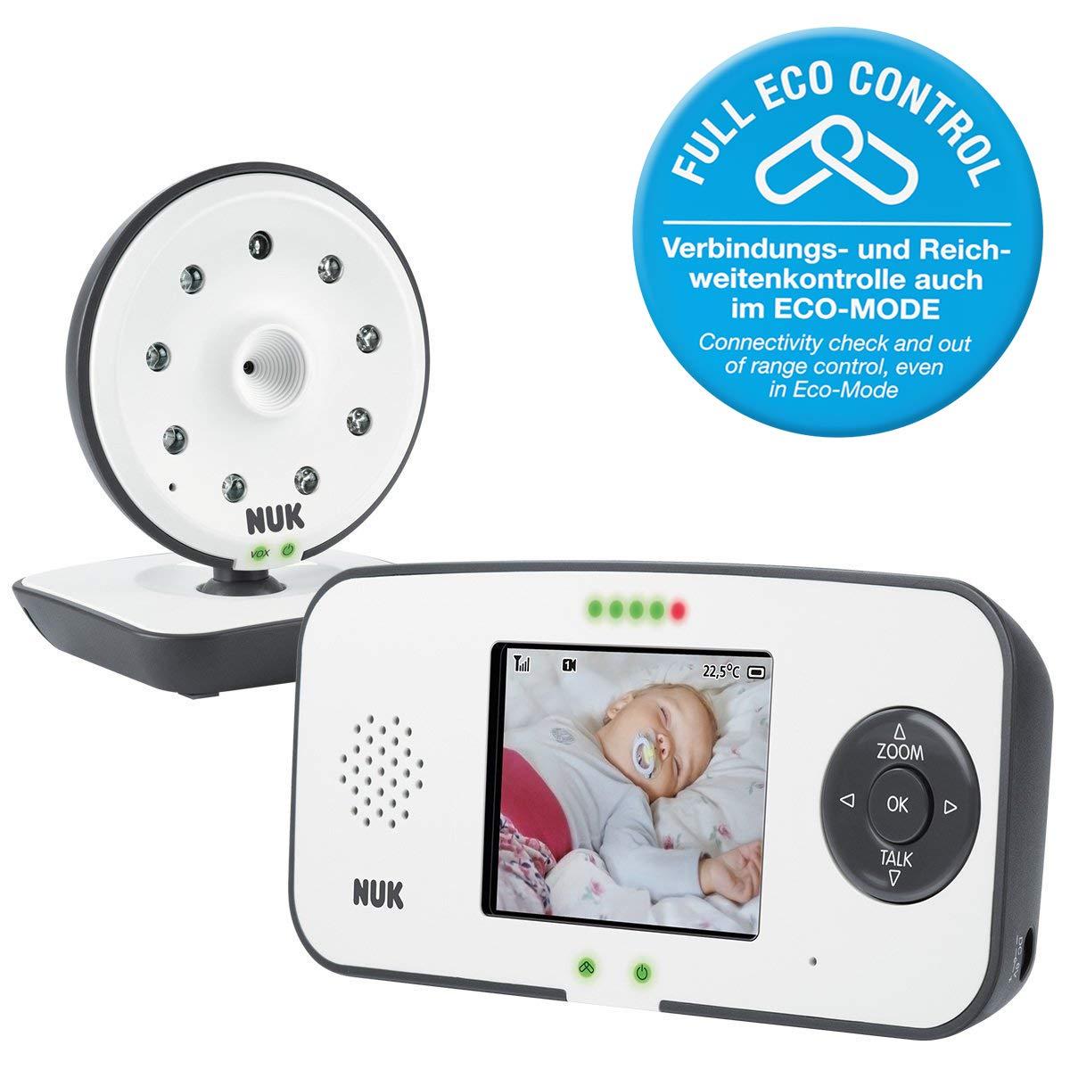 NUK Eco Control Video Display 550VD - Digitales Babyphone, mit Cam + Display, bis zu 4 Kameras, keine hochfrequenter Strahlung im Eco-Mode