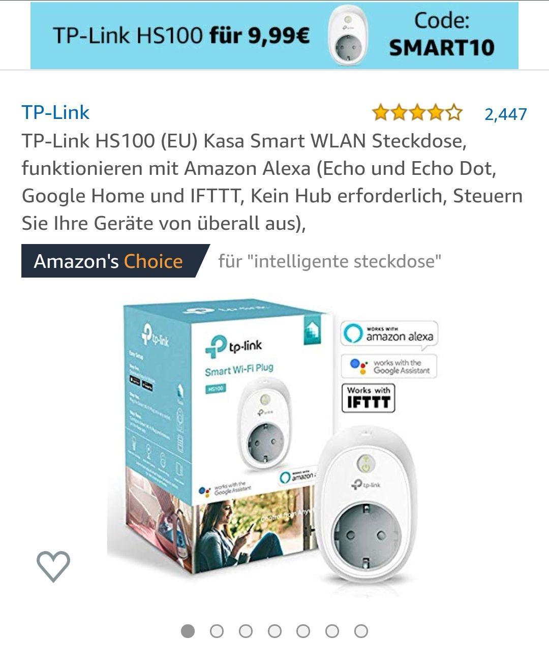 Tp-Link HS100 Kasa Smart WLAN Steckdose(Nur ausgewählte Amazon Kunden)