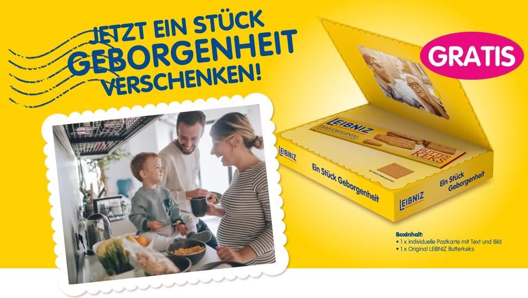 3 Leibniz Produkte kaufen und kostenlose Geschenkbox mit personalisiertem Fotogruß und gratis Packung Leibniz Butterkekse erhalten