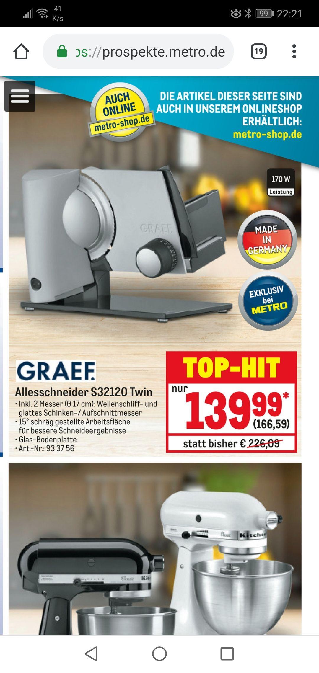 GRAEF Allesschneider S32120 Twin ähnlich Sliced Kitchen SKS300 - S32000