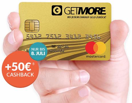Gebührenfreie Getmore MasterCard Gold der Advanzia mit 50€ Prämie & 0,2% Cashback