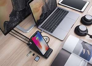 AMAZON - HyperDrive Wireless Charger USB-C Hub / Dockingstation / HDMI / 8 Ports / Gigabit Ethernet