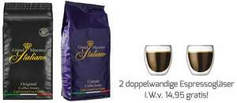 Grand Maestro Italiano Celeste Kaffeebohnen (4 kg) + 2 doppelwandige Espressogläser gratis