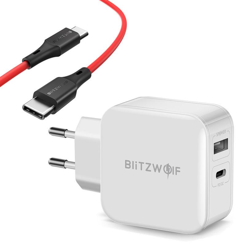 BlitzWolf BW-S11 USB Ladegerät mit BlitzWolf BW-TC17 Ladekabel