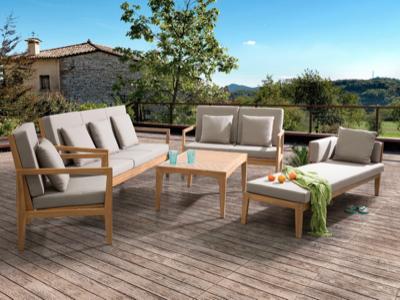 5-teiliges Lounge-Set Pataja aus Akazienholz mit Auflagen