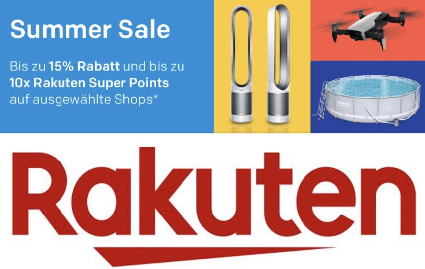 SUMMER SALE mit 10% bzw. 15% Rabatt + 10-fache Superpunkte auf alles von diversen Rakuten Händlern u.a. Alternate, bücher.de usw.