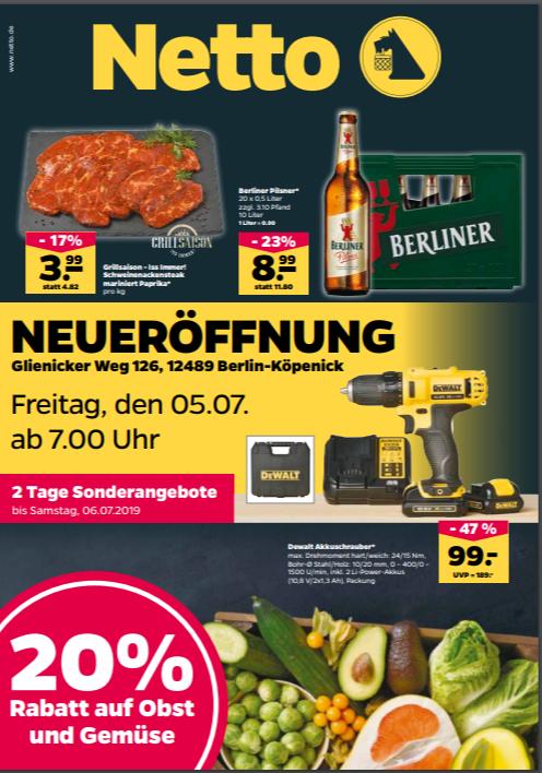 Eröffnungsangebote Netto Köpenick Glienicker Weg - 20 % Rabatt auf Obst + Gemüse