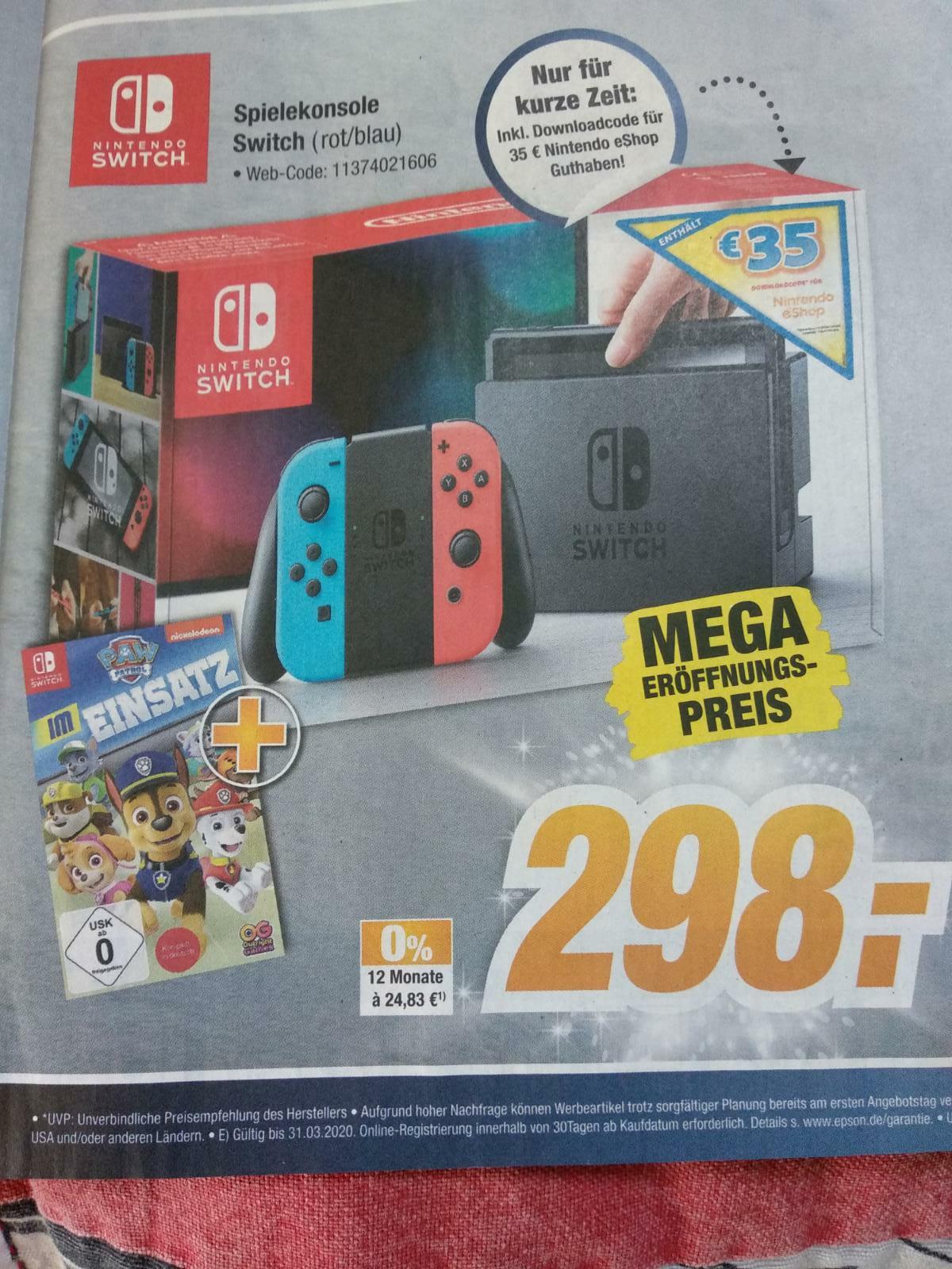 (LOKAL Leer, Aurich, Papenburg)  Nintendo Switch mit Spiel und 35€ e-shop Code für 298€