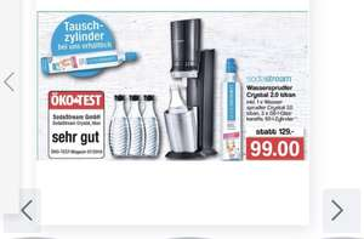 [Offline][Famila Nordwest] Soda Stream crystal 2.0 Titan inkl. 3 Glasflasxhen und 60l Zylinder