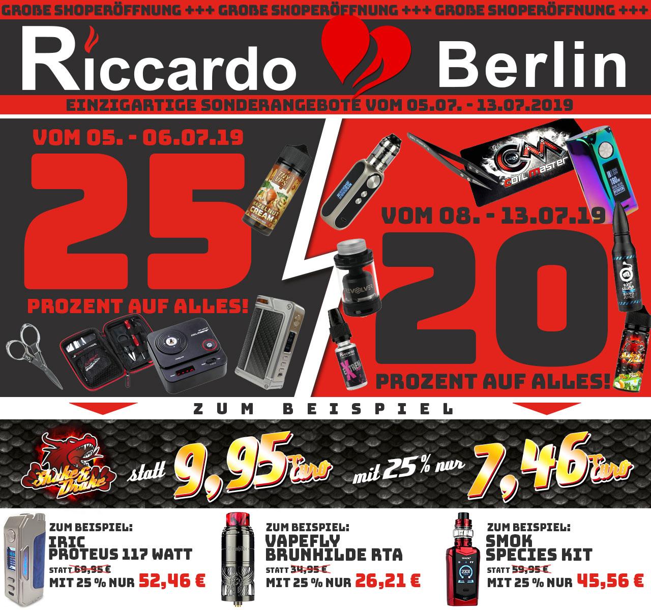 [Riccardo Offline] Berlin: 25% Rabatt auf alles - In allen* anderen Stores: 15% auf alles
