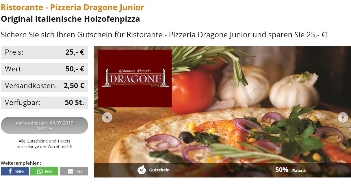 [ Augsburg ] 50€ Gutschein für Ristorante Pizzeria Dragone Junior für 27,50€