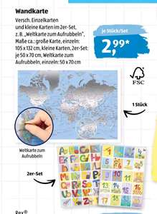 [Aldi Süd] farbige Rubbel Weltkarte 50 x 70 cm