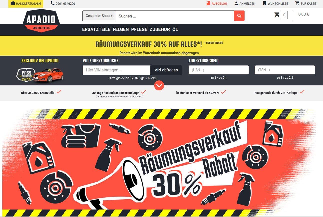 Räumungsverkauf bei KFZ Teile Apadio - 30% auf alles außer Felgen - ab 49.95€ versandkostenfrei