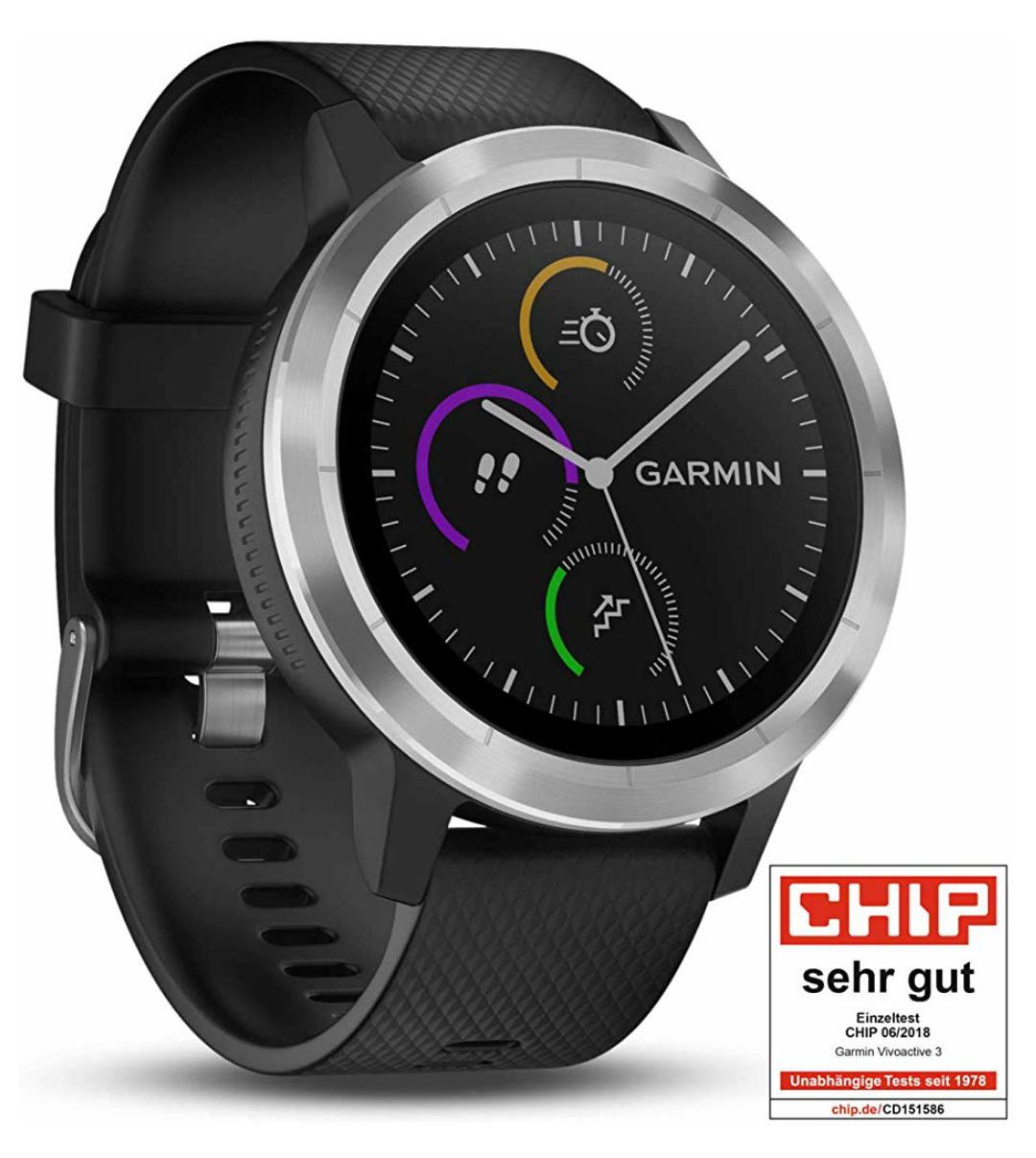 Garmin Vivoactive 3 GPS Fitnesstracker Smartwatch, wasserdicht,  Schwarz-Silber