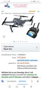 Dji Mavic Pro bei Amazon Italien Amazon.it 777,56€