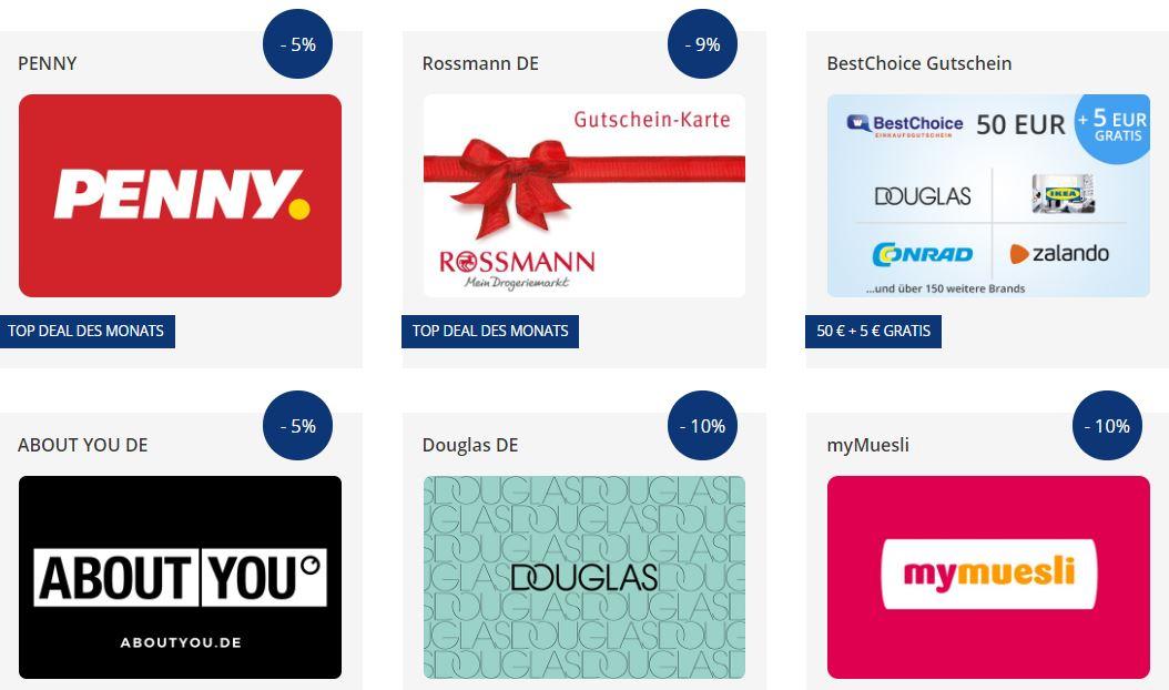 Postbank-Vorteilswelt mit Trick für alle nutzbar! - 57 Angebote - z.B. 9% Rabatt auf Rossmann Gutscheine