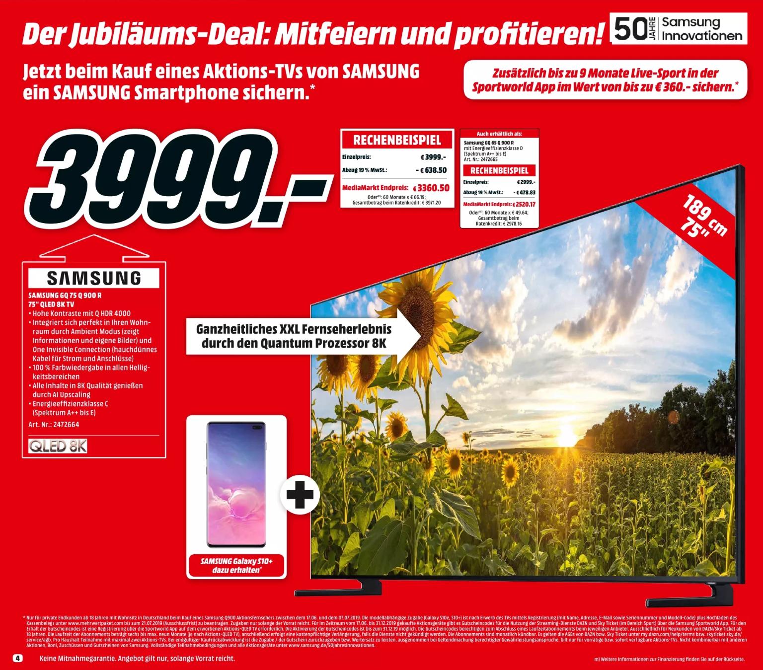 [MediaMarkt] Samsung GQ75Q900RGT QLED TV + Galaxy S10+ (Bestpreis)