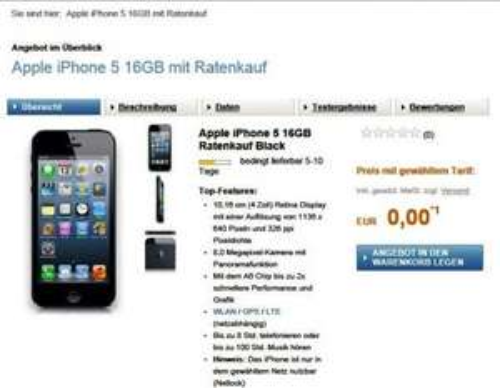 o2 Blue XS mit o2 My Handy Apple iPhone 5 16GB ----  29,99 monatl.