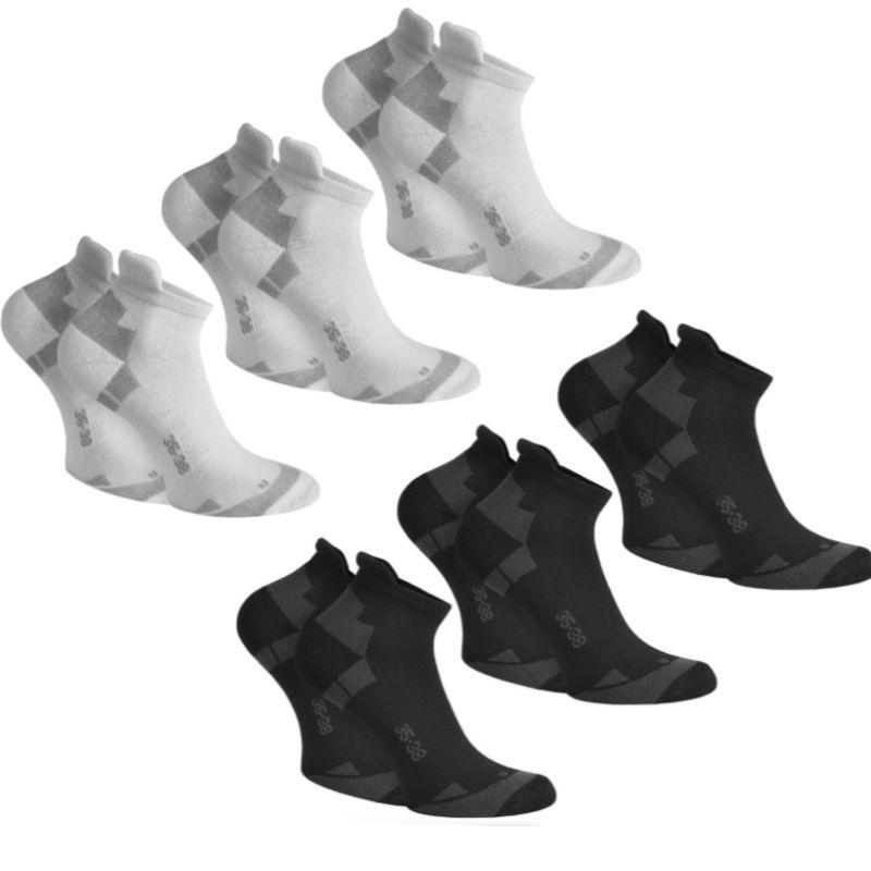 6 Paar Coolmax Sneakersocken mit Komfortferse - Weiß oder Schwarz