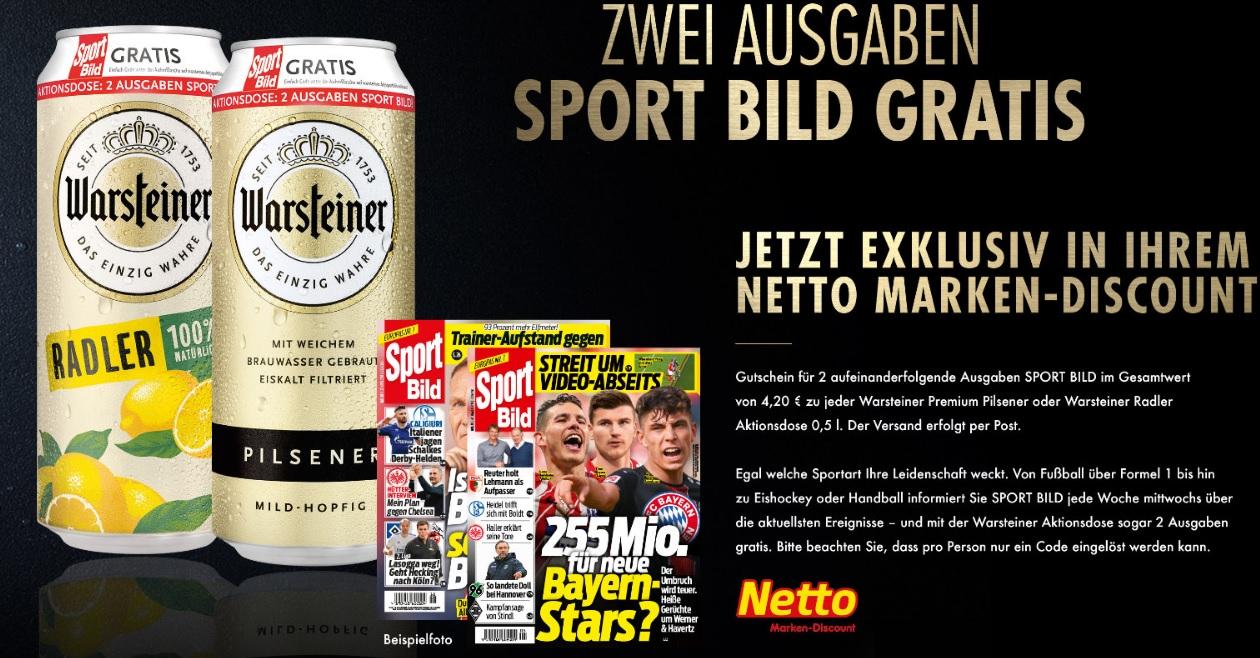 [ NETTO MD bundesweit ab Montag ] Dose Warsteiner Pils oder Radler für 0,69€+Code für 2 Ausgaben Sport Bild für 0,69€ (endet automatisch)